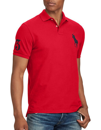 Polo Ralph Lauren Custom Slim-Fit Cotton Mesh Polo-RED-Medium