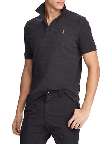 Polo Ralph Lauren Custom Slim-Fit Mesh Cotton Polo-GREY-X-Large
