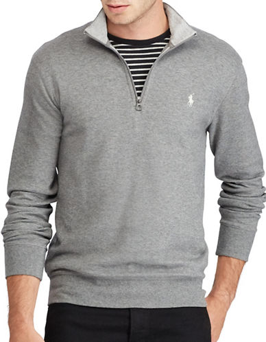 Polo Ralph Lauren Luxury Jersey Half-Zip Pullover-GREY-X-Large