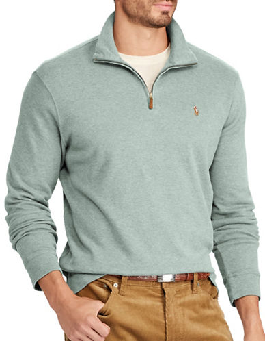 Polo Ralph Lauren Luxury Jersey Half-Zip Pullover-TEAL-Medium