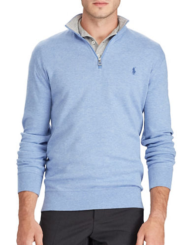 Polo Ralph Lauren Luxury Jersey Half-Zip Pullover-BLUE-Large