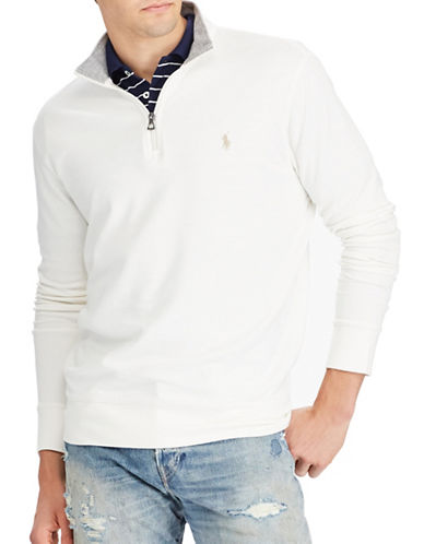 Polo Ralph Lauren Luxury Jersey Half-Zip Pullover-WHITE-Small