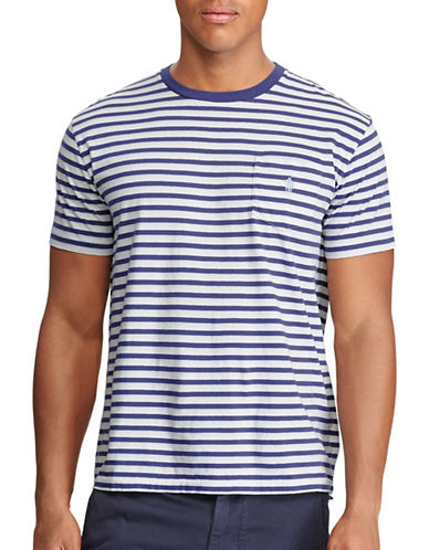 Polo Ralph Lauren Classic Fit Striped Cotton Tee-WHITE-4X Tall
