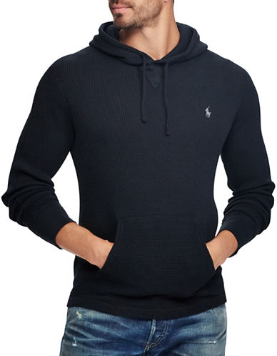 Polo Ralph Lauren Big and Tall Waffle-Knit Cotton Hoodie-DARK BLUE-5X Big