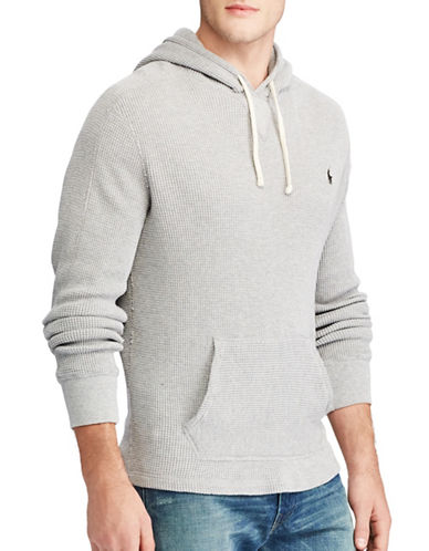 Polo Ralph Lauren Big and Tall Waffle-Knit Cotton Hoodie-GREY-1X Tall