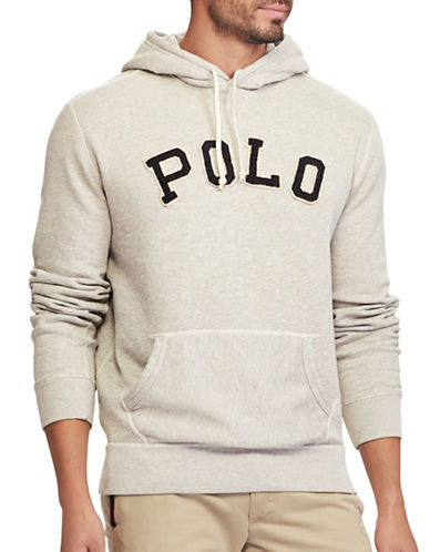 Polo Ralph Lauren Big and Tall Varsity Fleece Hoodie-GREY-1X Tall