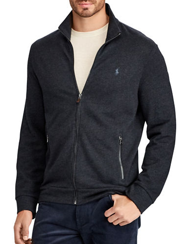 Polo Ralph Lauren Big and Tall Jacquard Fleece Jacket-BLUE-Large Tall