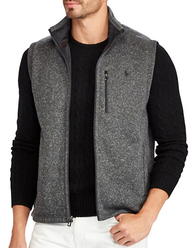 Polo Ralph Lauren Big and Tall Fleece Mockneck Vest-GREY-1X Tall