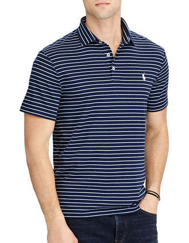Polo Ralph Lauren Classic Fit Striped Soft-Touch Polo-BLUE-1X Big