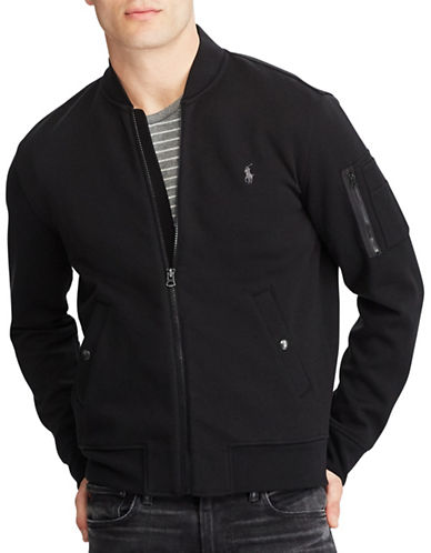 Polo Ralph Lauren Big and Tall Double-Knit Bomber Jacket-BLACK-Large Tall