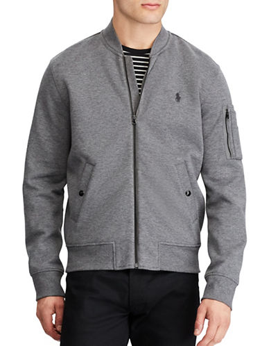 Polo Ralph Lauren Big and Tall Double-Knit Bomber Jacket-GREY-1X Tall