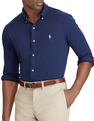 Polo Ralph Lauren Big and Tall Classic-Fit Cotton Mesh Shirt-BLUE-4X Big