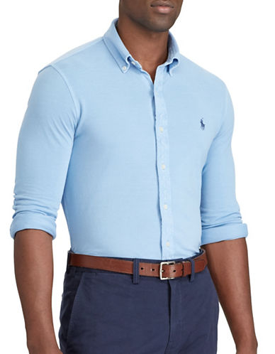 Polo Ralph Lauren Big and Tall Classic-Fit Cotton Mesh Shirt-LIGHT BLUE-2X Big