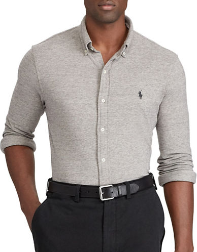 Polo Ralph Lauren Big and Tall Classic-Fit Cotton Mesh Shirt-GREY-1X Tall