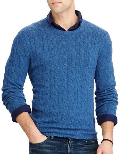 Polo Ralph Lauren Cable-Knit Cashmere Sweater-BLUE HEATHER-Medium