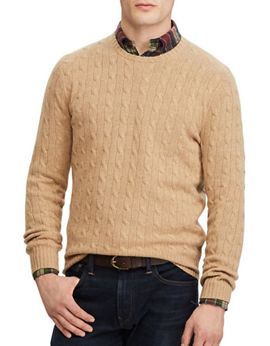 Polo Ralph Lauren Cable-Knit Cashmere Sweater-BROWN-X-Large