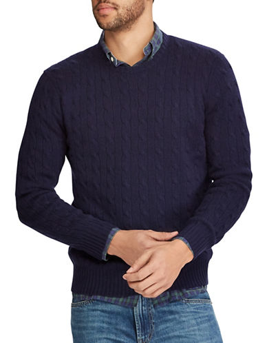 Polo Ralph Lauren Cable-Knit Cashmere Sweater-NAVY-Small
