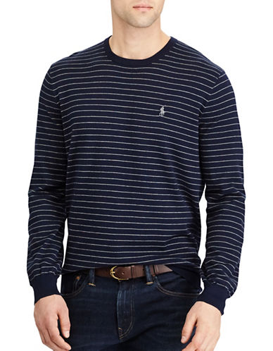 Polo Ralph Lauren Striped Cotton Sweater-NAVY-Medium