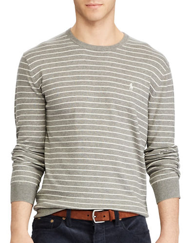 Polo Ralph Lauren Striped Cotton Sweater-GREY-Medium 89455238_GREY_Medium