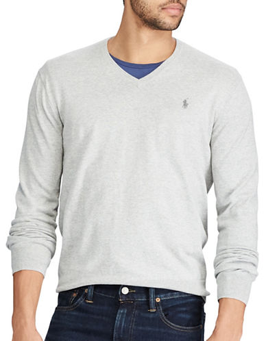 Polo Ralph Lauren V-Neck Cotton Sweater-GREY-Large