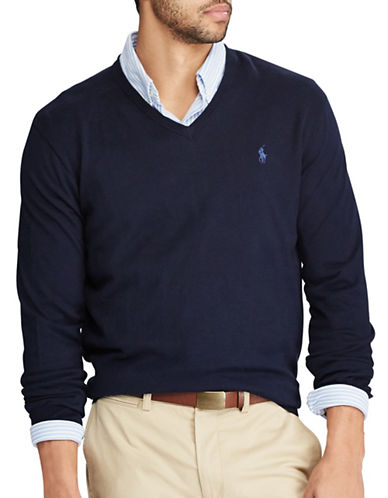 Polo Ralph Lauren V-Neck Cotton Sweater-BLUE-Small