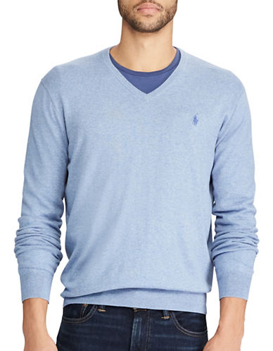 Polo Ralph Lauren V-Neck Cotton Sweater-LIGHT BLUE-X-Large