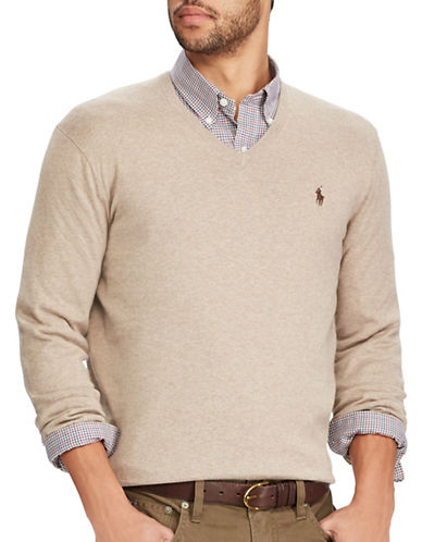 Polo Ralph Lauren V-Neck Cotton Sweater-BROWN-X-Large