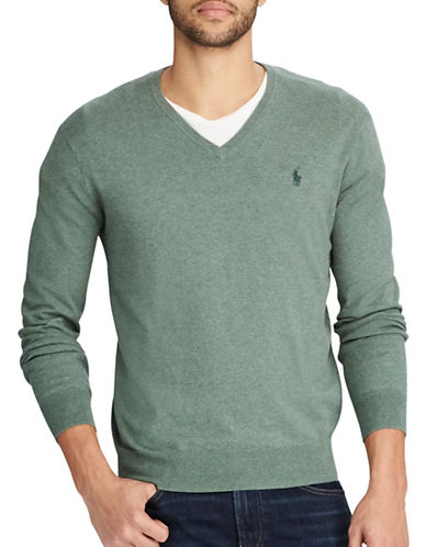 Polo Ralph Lauren Cotton V-Neck Sweater-GREEN-X-Large