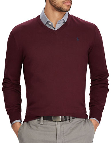 Polo Ralph Lauren Cotton V-Neck Sweater-RED-Large