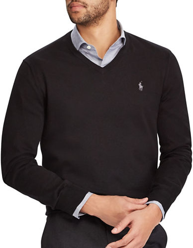 Polo Ralph Lauren V-Neck Cotton Sweater-BLACK-Small