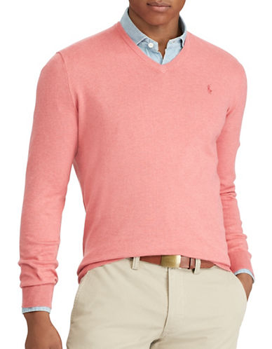 Polo Ralph Lauren Cotton V-Neck Sweater-ORANGE-X-Large