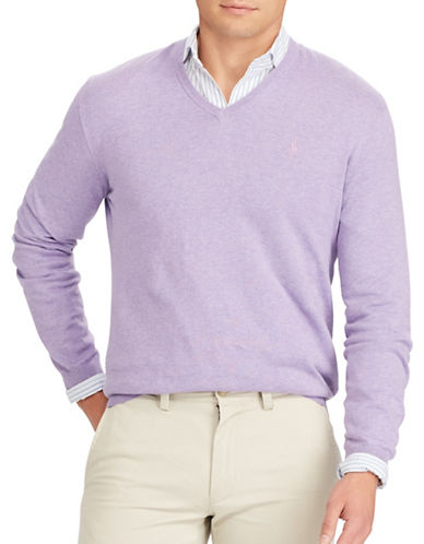 Polo Ralph Lauren V-Neck Cotton Sweater-PURPLE-Medium