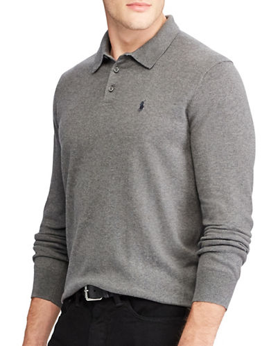Polo Ralph Lauren Polo-Collar Cotton Sweater-GREY-Small