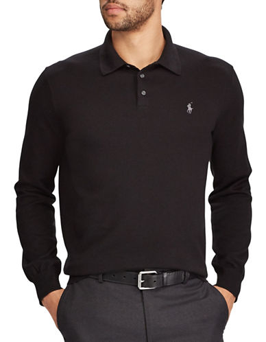 Polo Ralph Lauren Polo-Collar Cotton Sweater-BLACK-Medium