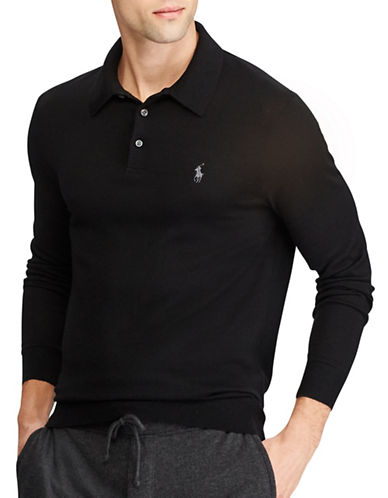 Polo Ralph Lauren Long Sleeve Placket Merino Wool Polo-BLACK-Small