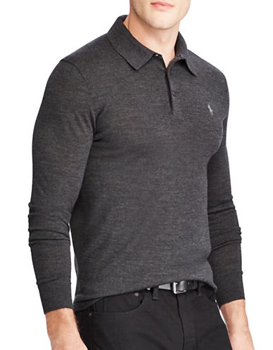 Polo Ralph Lauren Long Sleeve Placket Merino Wool Polo-GREY-Large