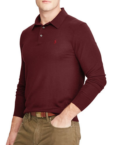 Polo Ralph Lauren Long Sleeve Placket Merino Wool Polo-RED-Large