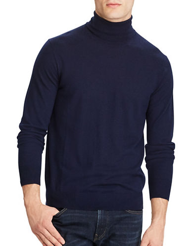 Polo Ralph Lauren Washable Merino Wool Turtleneck Sweater-NAVY-Large