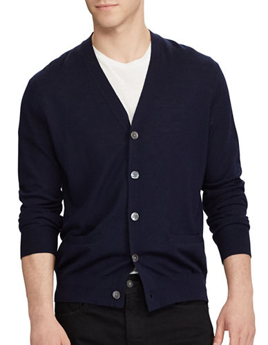 Polo Ralph Lauren Long Sleeve V-Neck Cardigan-NAVY-X-Large