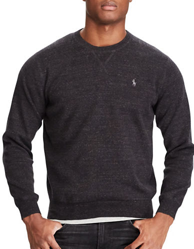 Polo Ralph Lauren Cotton Crewneck Marl Sweater-BLACK-X-Large