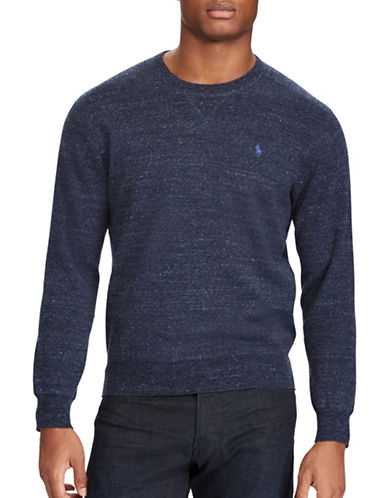 Polo Ralph Lauren Cotton Crewneck Marl Sweater-BLUE-Large