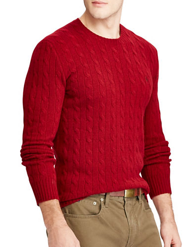 Polo Ralph Lauren Cable-Knit Sweater-RED-Large