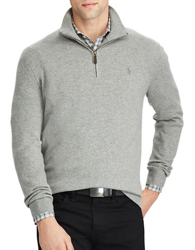 Polo Ralph Lauren Merino Wool Half-Zip Sweater-GREY-Small