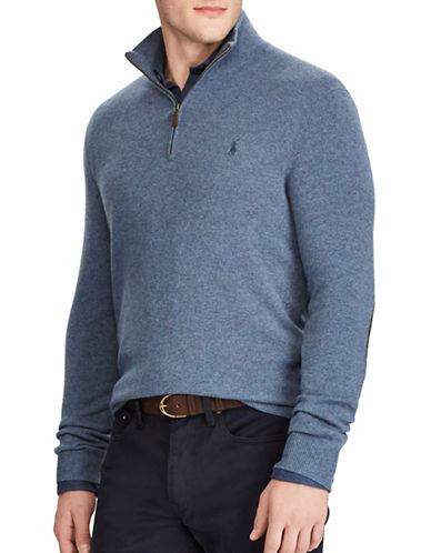 Polo Ralph Lauren Merino Wool Half-Zip Sweater-BLUE-Large