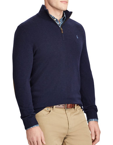Polo Ralph Lauren Merino Wool Half-Zip Sweater-NAVY-X-Large