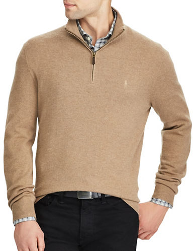 Polo Ralph Lauren Merino Wool Half-Zip Sweater-BROWN-Small
