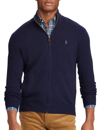 Polo Ralph Lauren Merino Wool Full-Zip Sweater-NAVY-X-Large