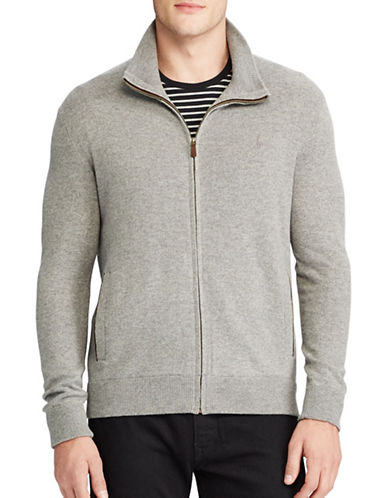 Polo Ralph Lauren Merino Wool Full-Zip Sweater-GREY-Small
