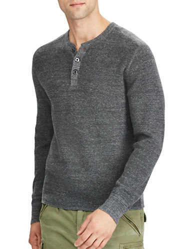 Polo Ralph Lauren Waffle-Knit Cotton Marl Henley-GREY-X-Large