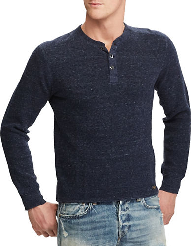 Polo Ralph Lauren Waffle-Knit Cotton Marl Henley-BLUE-Large